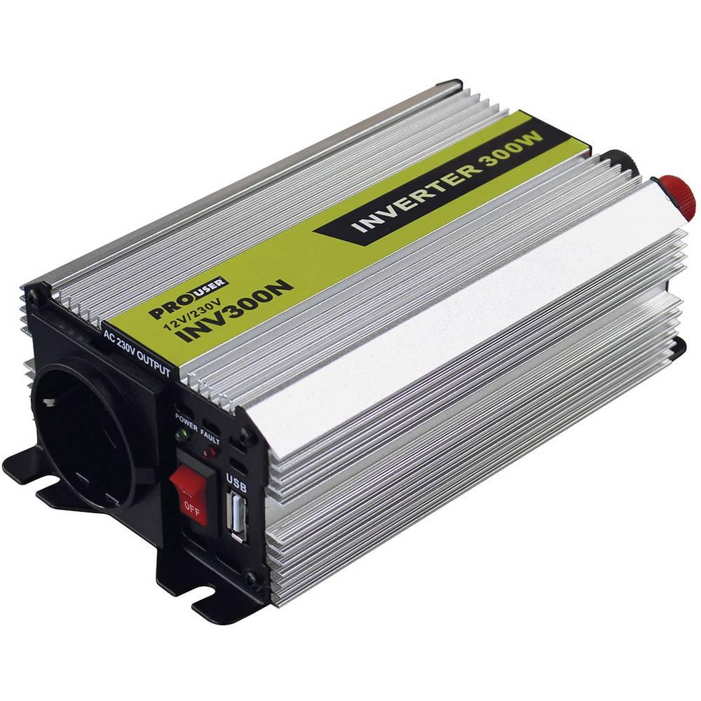 Inverter ProUser INV300N 300 W 12 V/DC Cigarettænder-stik, DC-klemmer