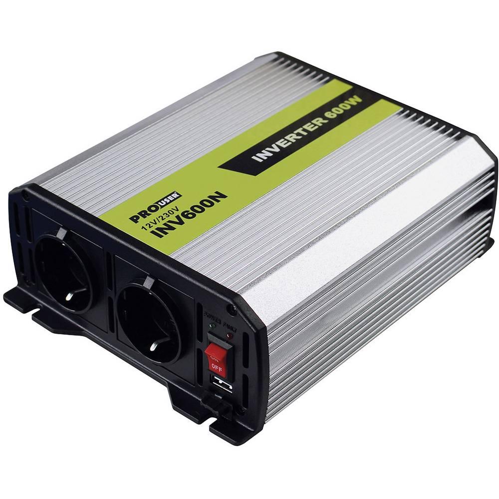 Razsmernik ProUser napetostni transformator 600W 12 na 230V 600 W 12 V/DC vtičnica za cigaretni vžigalnik, DC sponka