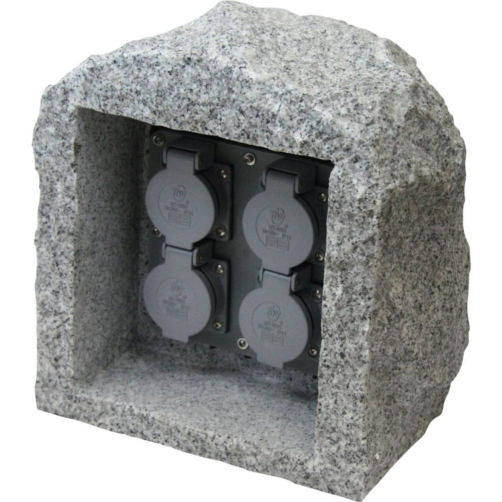Vrtna vtičnica, 4-delna Granitna-siva (mat) Heitronic 36070