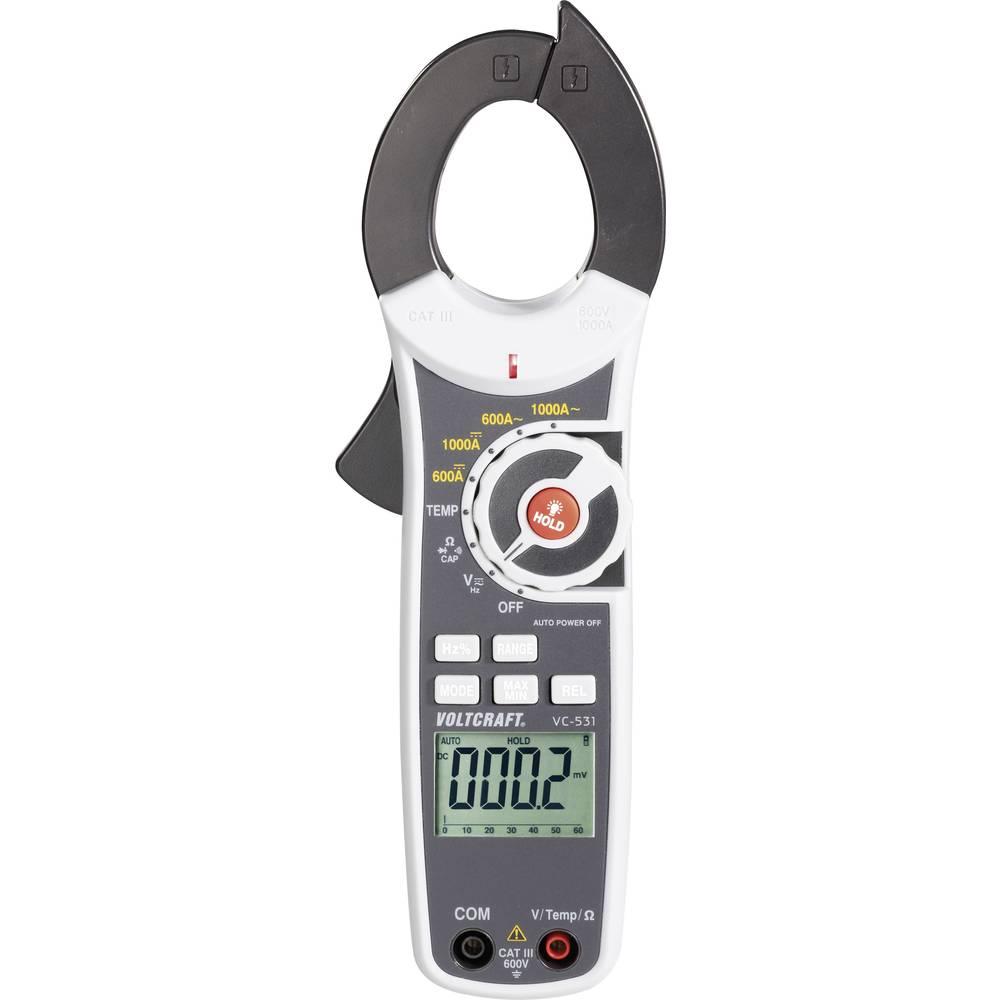 Tokovne klešče, ročni multimeter, digitalni VOLTCRAFT VC-530 kalibracija narejena po: DAkkS CAT III 600 V število znakov na zasl