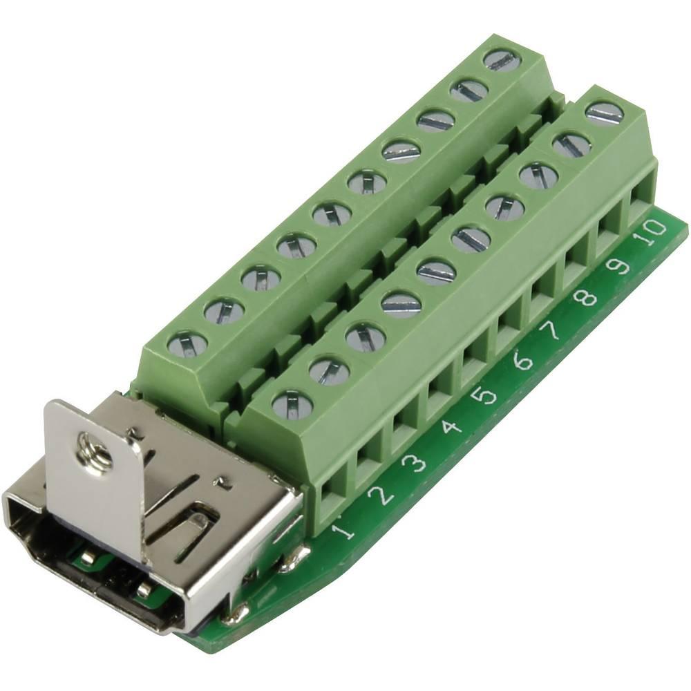 HDMI-vtični konektor za vtičnico, vgraden horizontalen število polov: 20 srebrne barve Conrad HDMI-AFT-2 1 kos