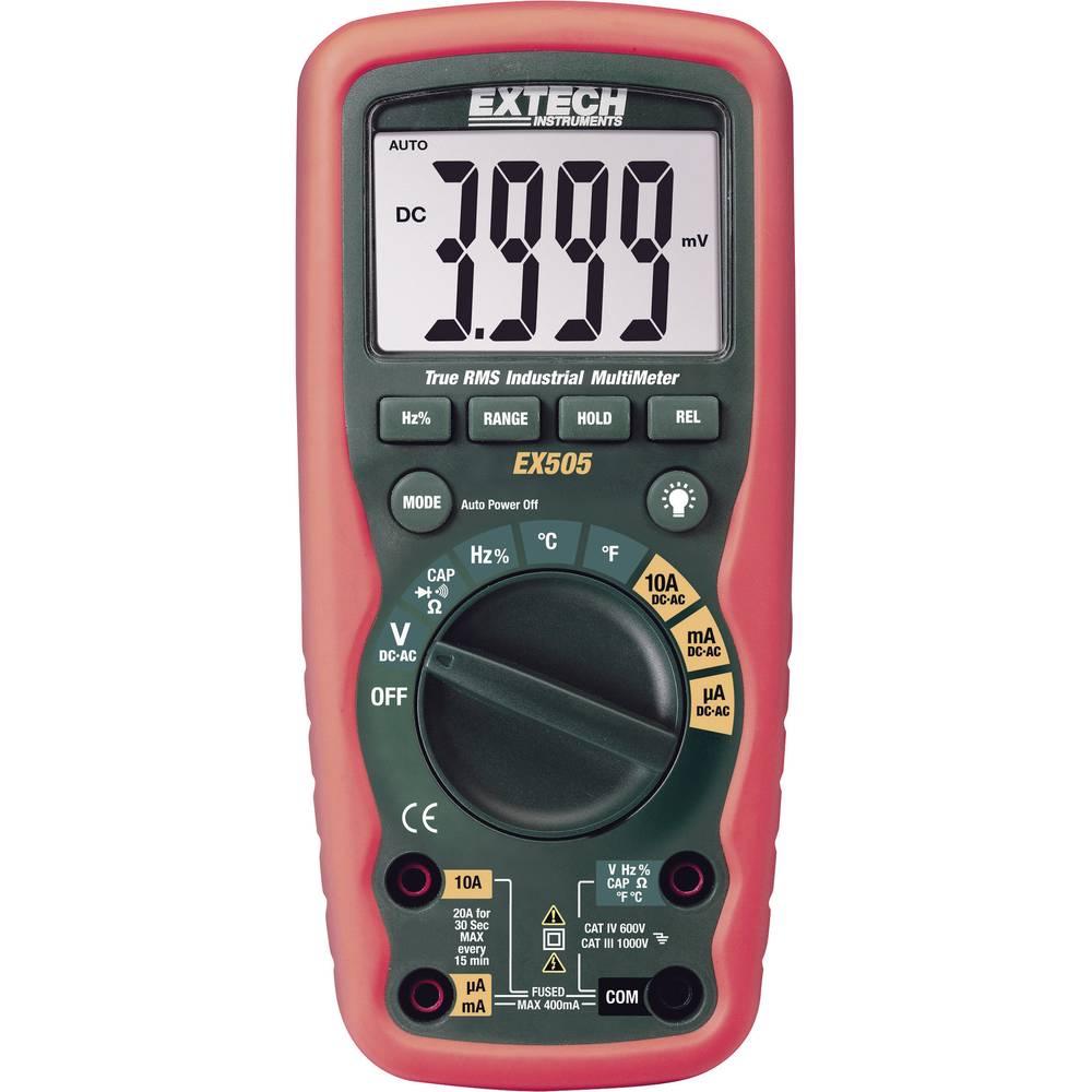 Ročni multimeter, digitalni Extech EX505 kalibracija narejena po: delovnih standardih, vodoodporen (IP67) CAT III 1000 V, CAT IV