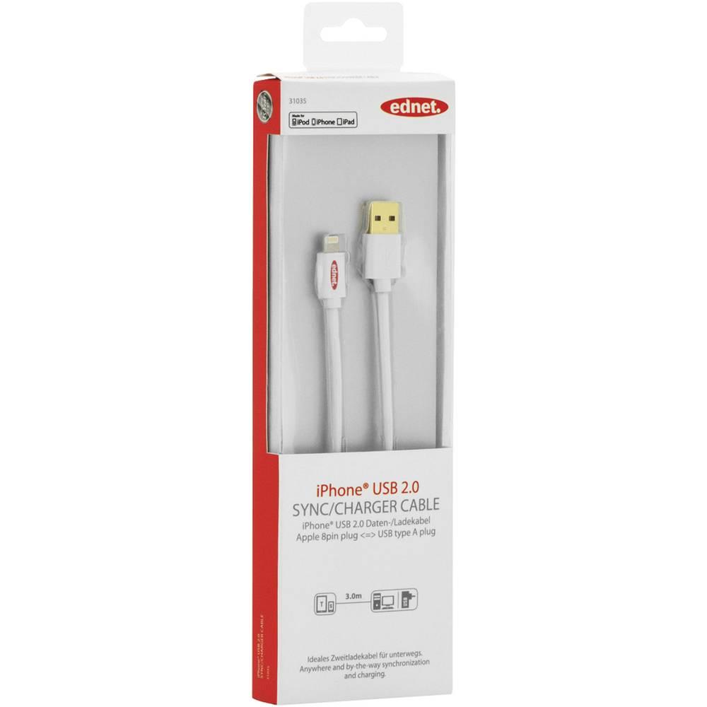 iPad/iPhone/iPod punjački kabel/podatkovni kabel [1x USB 2.0 utikač A - 1x Apple Dock utikač Lightning] ednet 3 m bijela