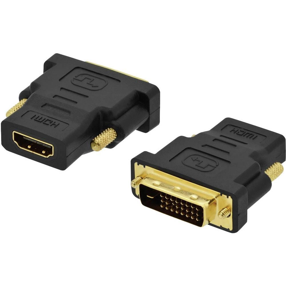 HDMI / DVI adapter ednet [1x HDMI ženski konektor <=> 1x DVI utikač 18+1pol.] crna, s vijcima, pozlaćeni utični kontakti