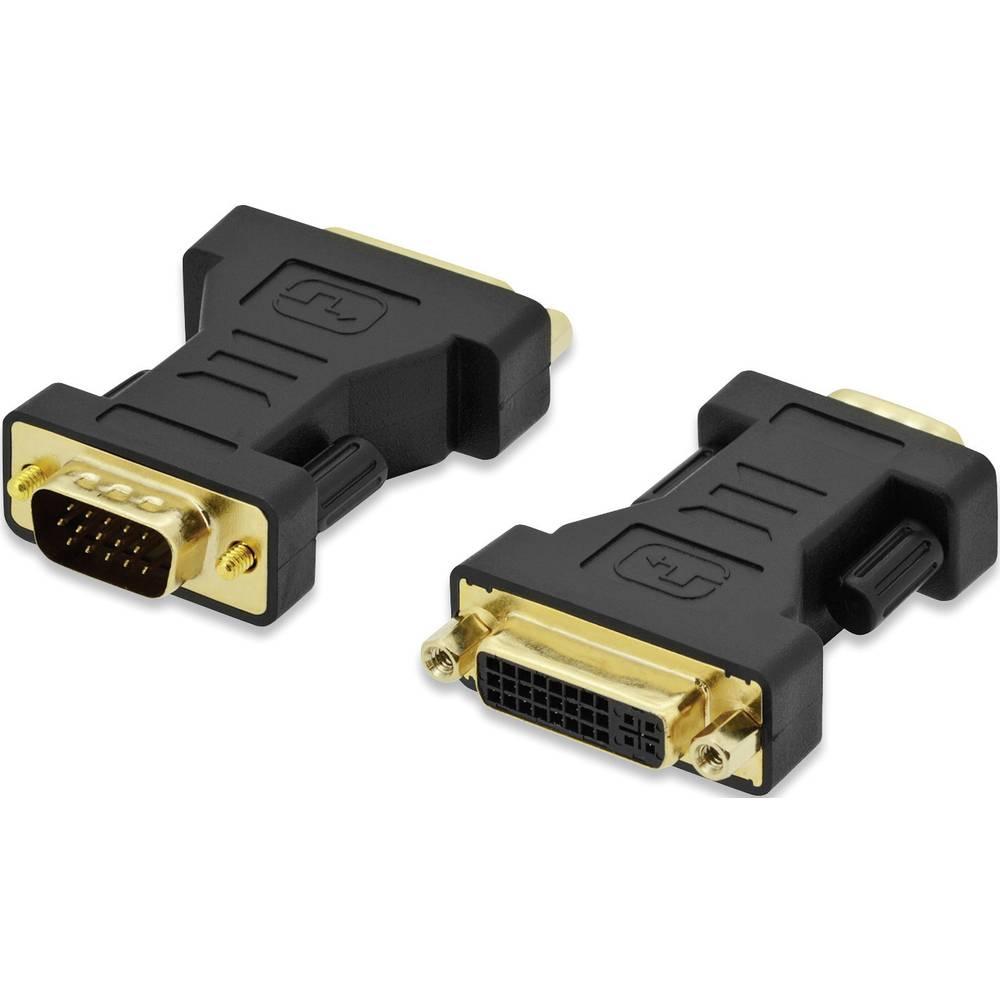 Adapter VGA / DVI ednet[1x VGA-vtič <=> 1x DVI-priključek 24+5pol.] črn, nastavljiv, pozlačeni kontakti ednet