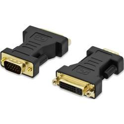 Adapter VGA / DVI ednet[1x VGA-vtič   1x DVI-priključek 24+5pol.] črn, nastavljiv, pozlačeni kontakti ednet