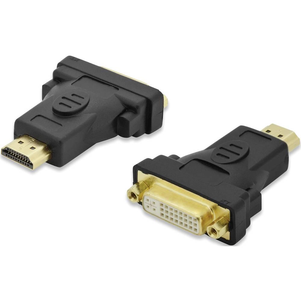 HDMI / DVI Adapter Ednet [1x HDMI-vtič <=> 1x DVI-vtič 24+5pol.] črn, nastavljiv, pozlačeni kontakti