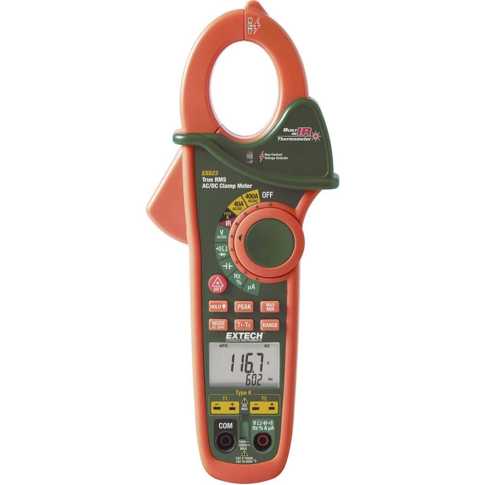 Strujna kliješta, digitalni ručni multimetar Extech EX623 IC-termometar CAT III 600 V broj mjesta na zaslonu: 40000