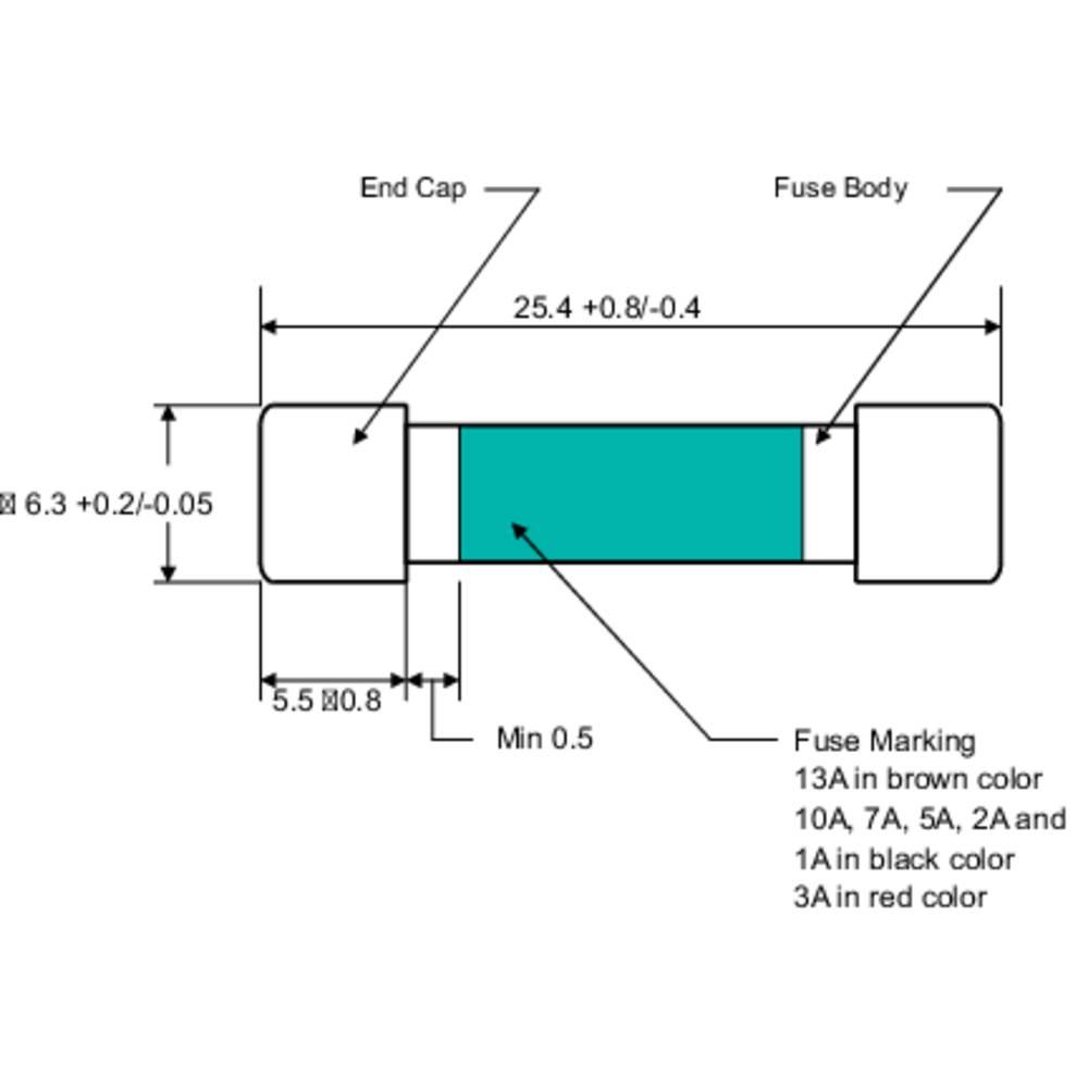 Multi-meterska varovalka ( x D) 6.35 mm x 25.4 mm 1 A 250 V hitra -F- 110102700109X vsebuje 1 kos