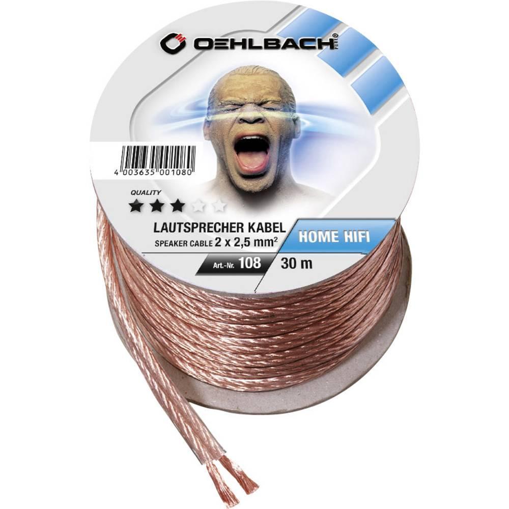 Kabel za zvočnik 2 x 2.5 mm transparentni Oehlbach 108 30 m