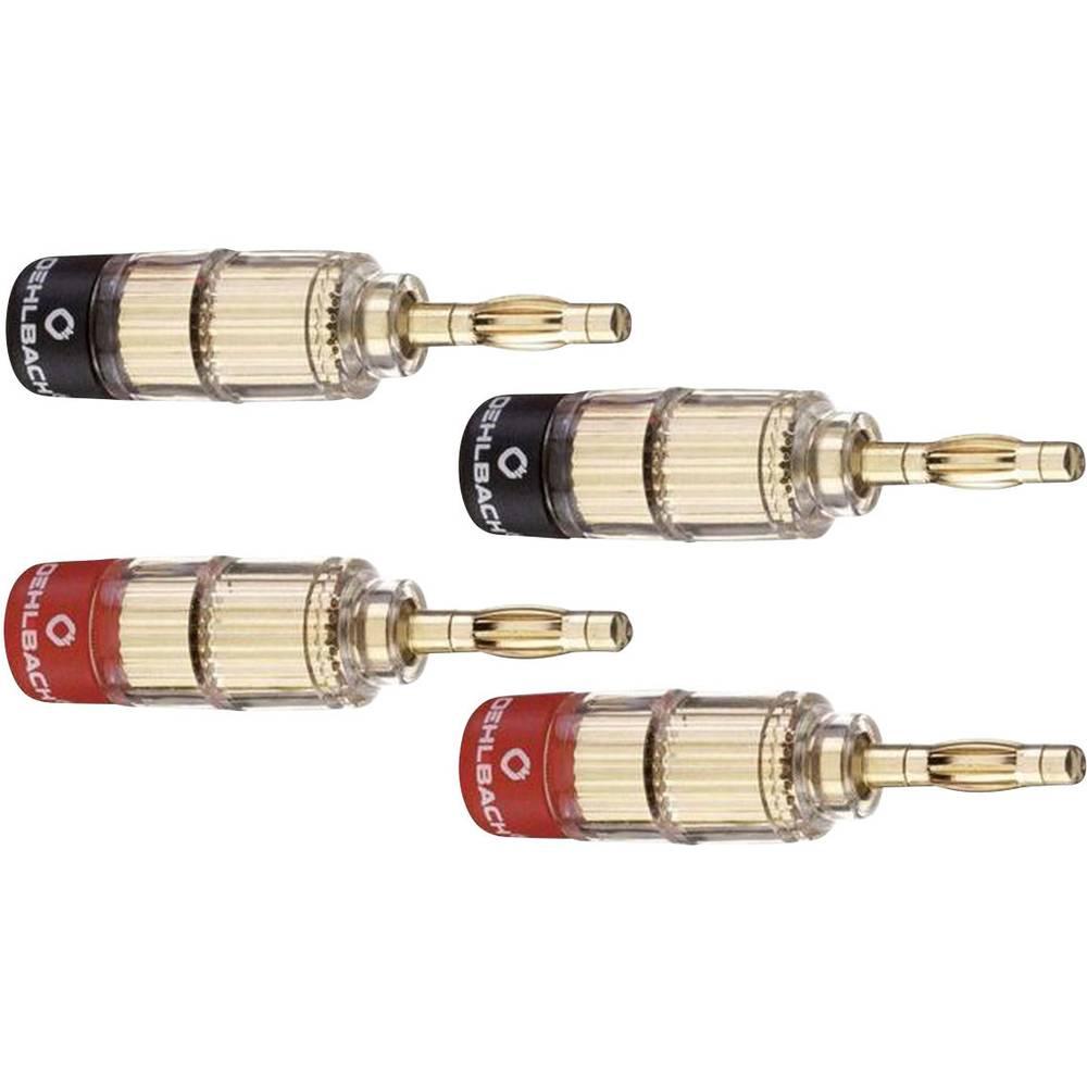 Vtični konektor za zvočnik prek vtiča, raven, Gold, rdeče barve, črne barve Oehlbach 3020 4 kosi