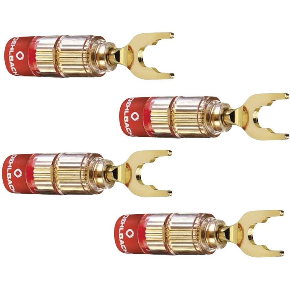 Vtični konektor za zvočnik prek vtiča, raven, Gold Oehlbach 3023 4 kosi