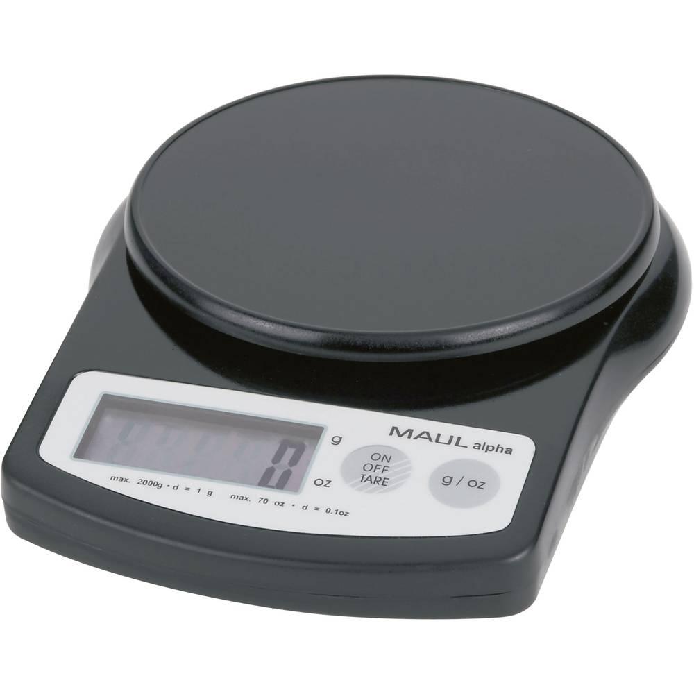 Pisemska tehtnica Maul MAULalpha 2000G območje tehtanja do 2 kg, natančnost: 1 g baterijska črne barve