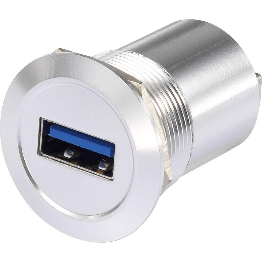 USB-Buchse (type A) til USB-stik (type A) TRU COMPONENTS USB-08 USB 3.0 Sølv 1 stk