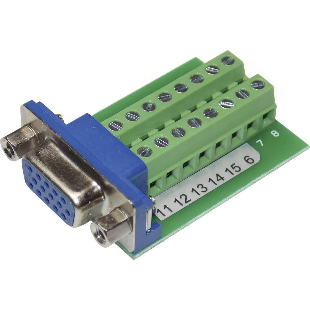VGA-vtični konektor za vtičnico, vgraden vertikalen število polov: 15 srebrne barve Conrad VGA15F-16TB-2 1 kos