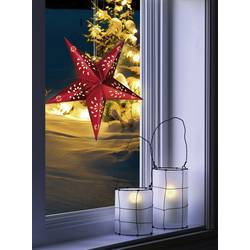 Okenska dekoracija v obliki zvezde, Polarlite, LED, rdeče barve