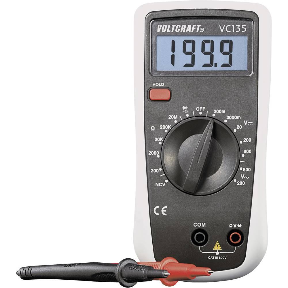 VOLTCRAFT VC135 Handmultimeter digital Kalibrerad enligt: (ej certifierad kalibrering) CAT III 600 V Display (Beräkningar): 2000