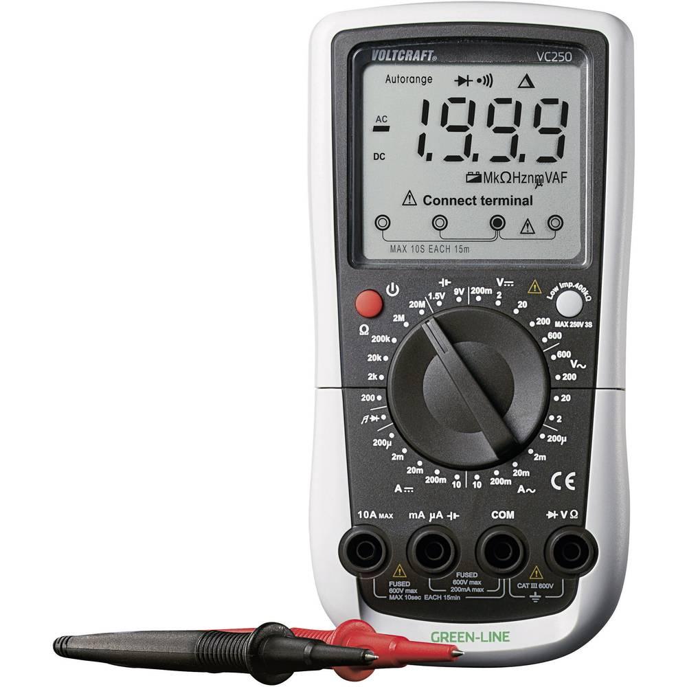 Ročni multimeter, digitalni VOLTCRAFT VC250 kalibracija narejena po: delovnih standardih, CAT III 600 V število znakov na zaslon