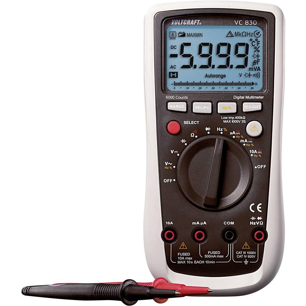 Ručni multimetar digitalni VOLTCRAFT VC830 kalibriran prema: tvorničkom standardu CAT III 1000 V, CAT IV 600 V prikaz (brojenja)