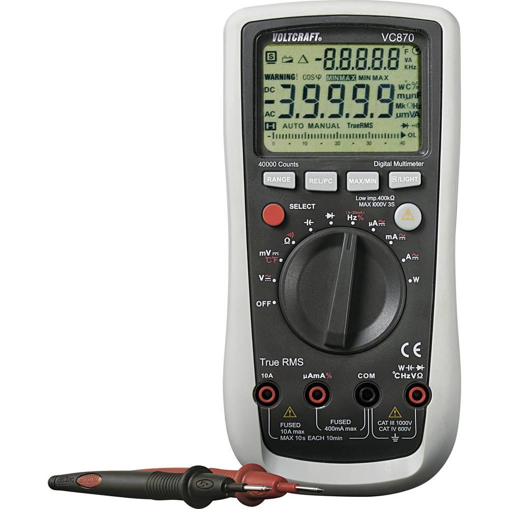 Ročni multimeter, digitalni VOLTCRAFT VC870 kalibracija narejena po: DAkkS CAT III 1000 V, CAT IV 600 V število znakov na zaslon