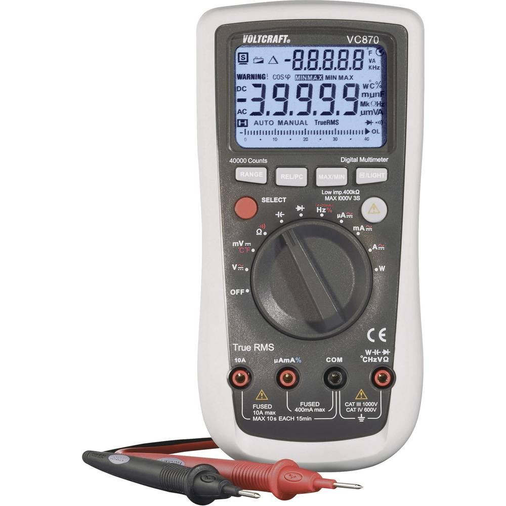 Ručni multimetar digitalni VOLTCRAFT VC870 kalibriran prema: tvorničkom standardu CAT III 1000 V, CAT IV 600 V prikaz (brojenja)