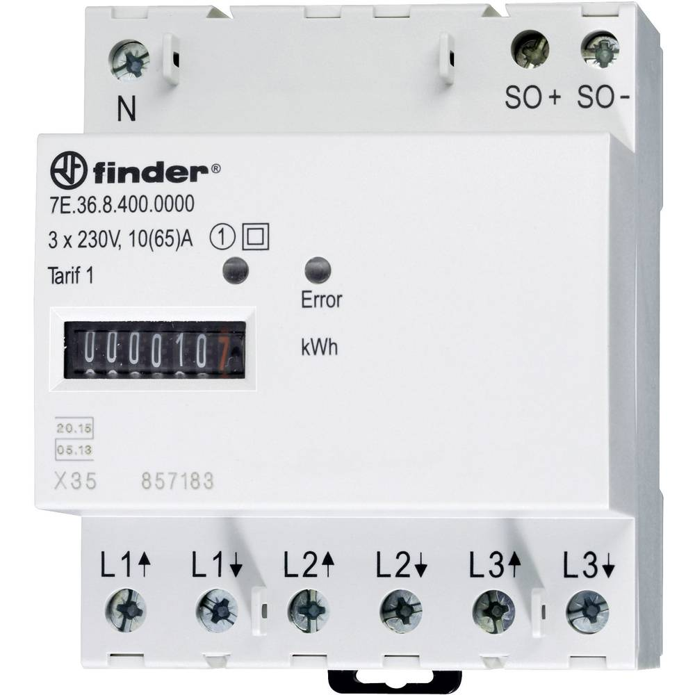 Brojilo trofazne struje, mehaničko 7E.36.8.400.0010 Finder 65 A MID sukladnost: da