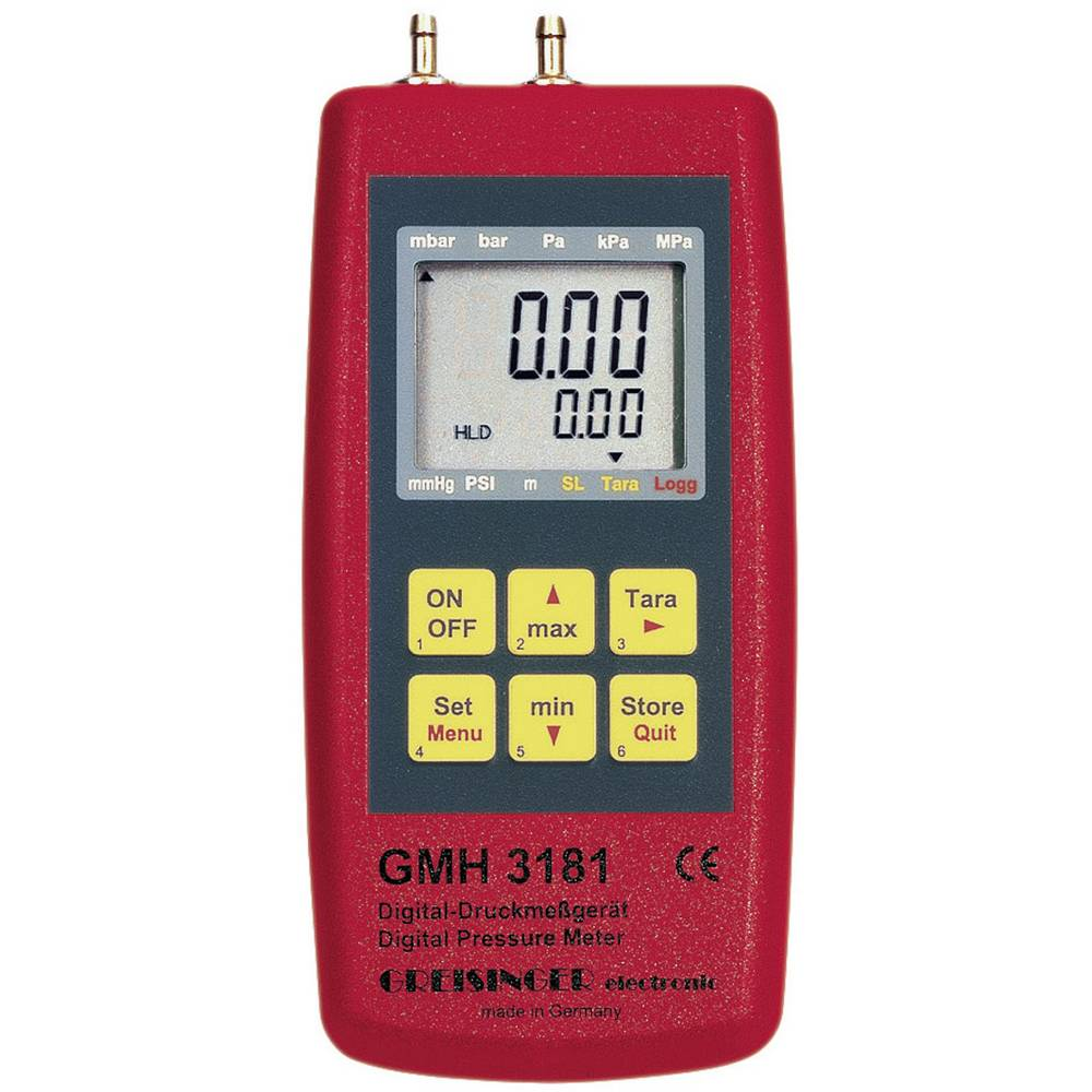 Merilnik tlaka Greisinger GMH 3181-01 za zračni tlak, neagresivne pline in korozivne pline -0.001 - 0.025 bar kalibracija nareje