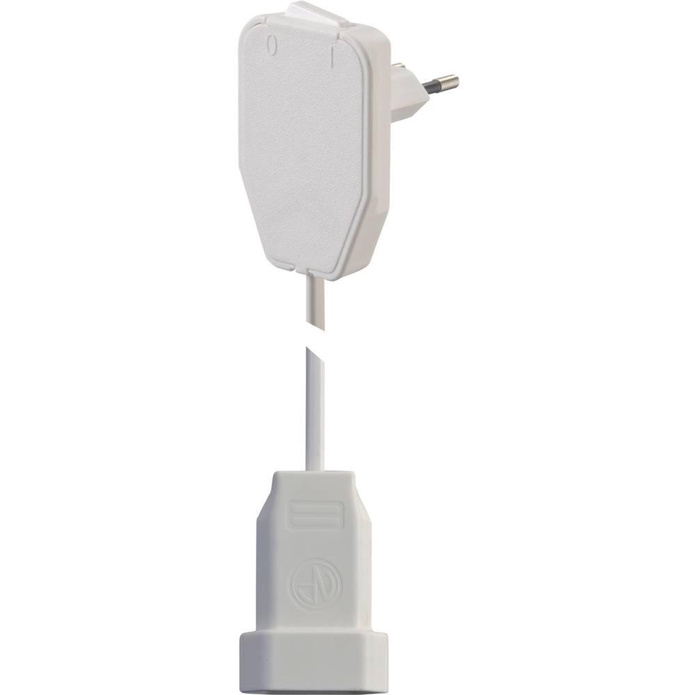 Kabelski podaljšek [ploščati vtič - evro vtičnica] beli 0.8 m NVB