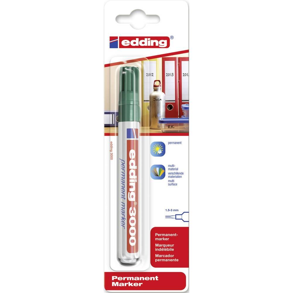 Trajni marker E-3000 Edding 4-3000004 širina poteza 1.5 - 3 mm šiljasti oblik okrugli oblik zeleni