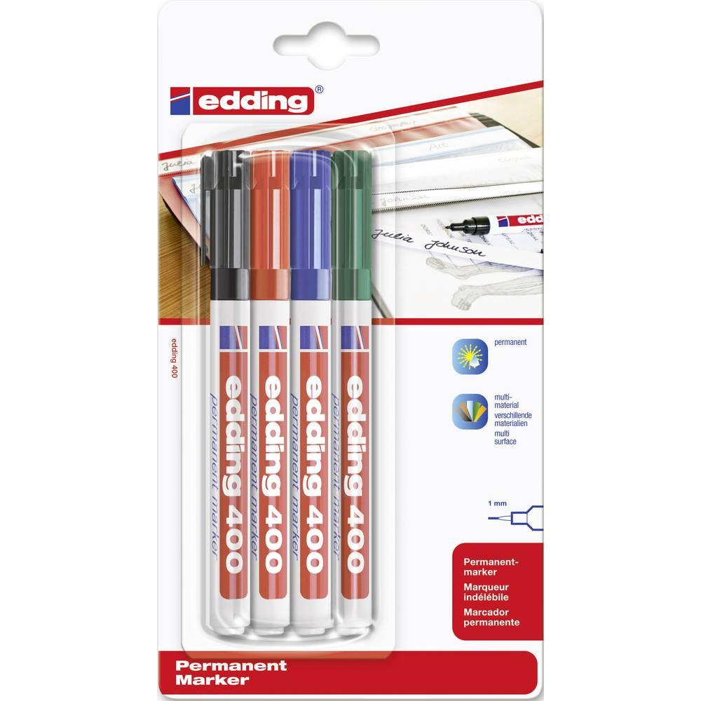 Trajni marker E-400 Edding 4-400-4 širina poteza 1 mm šiljasti oblik šiljasti oblik crni, crveni, zeleni, plavi