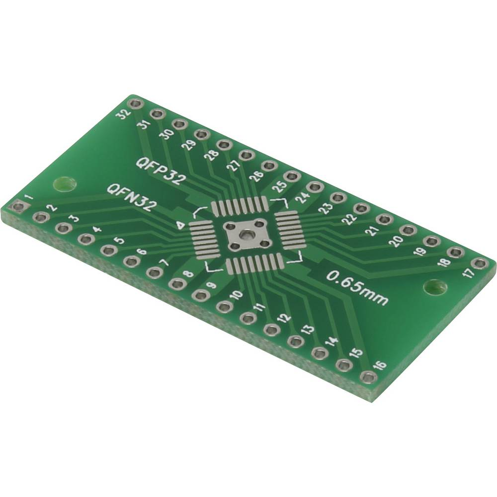 Printplade til eksperimenter Epoxid (L x B) 40.64 mm x 20.25 mm 35 µm Rastermål 2.54 mm Conrad Components QFN-QFP32 Indhold 1 st