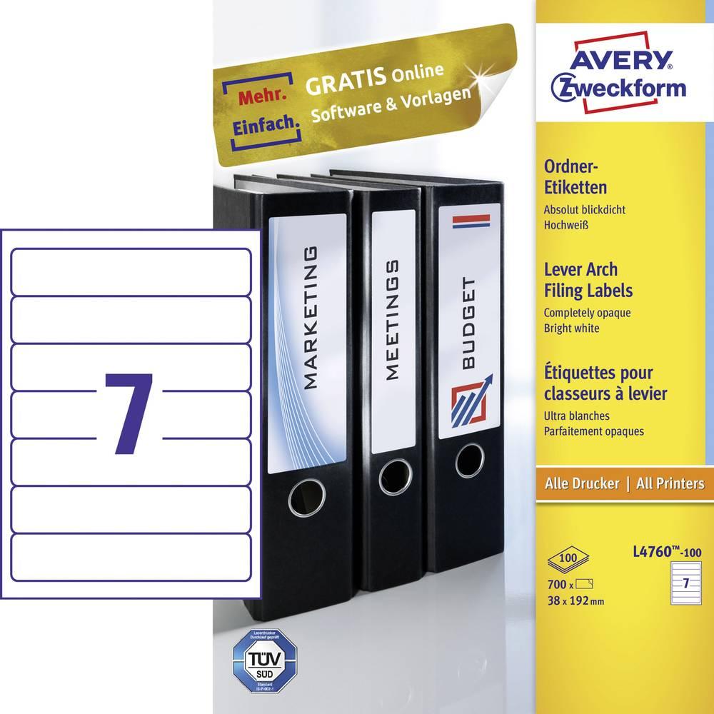 Naljepnice za sortiranje L4760-100 Avery-Zweckform kratke, za uske registratore ( 38 mm x 192 mm ), bijele, 700 kom., trajne