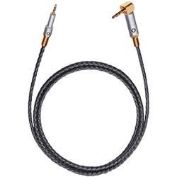 Klinken avdio priključni kabel [1x klinken vtič 2.5 mm - 1x klinken vtič 3.5 mm] 1.50 m črne barve, usnjena obloga