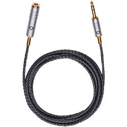 Klinken avdio priključni kabel [1x klinken vtič 6.35 mm - 1x klinken vtičnica 6.35 mm] 5 m črne barve, usnjena obloga