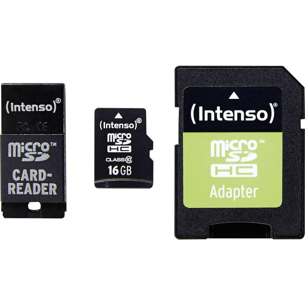 microSDHC-kartica 16 GB Intenso Adapter Set Class 10 inkl. SD-Adapter, vklj. USB-čitalnik kartic