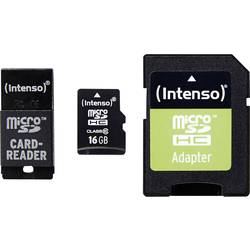 microSDHC-Kort Intenso Adapter Set Class 10 16 GB inkl. SD-adapter, inkl. USB-kortläsare