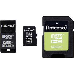 Set microSDHC kartica 16 GB Intenso Adapter Set Class 10 uklj. SD adapter, uklj. USB čitač kartica