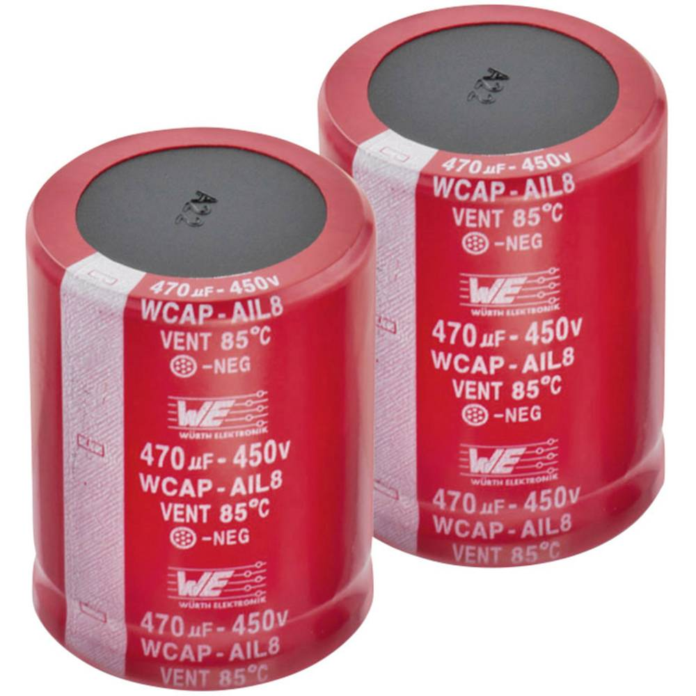 Elektrolitski kondenzator SnapIn 10 mm 100 µF 450 V 20 % (promjer x V) 25 mm x 26 mm Würth Elektronik WCAP-AIL5 8611114840