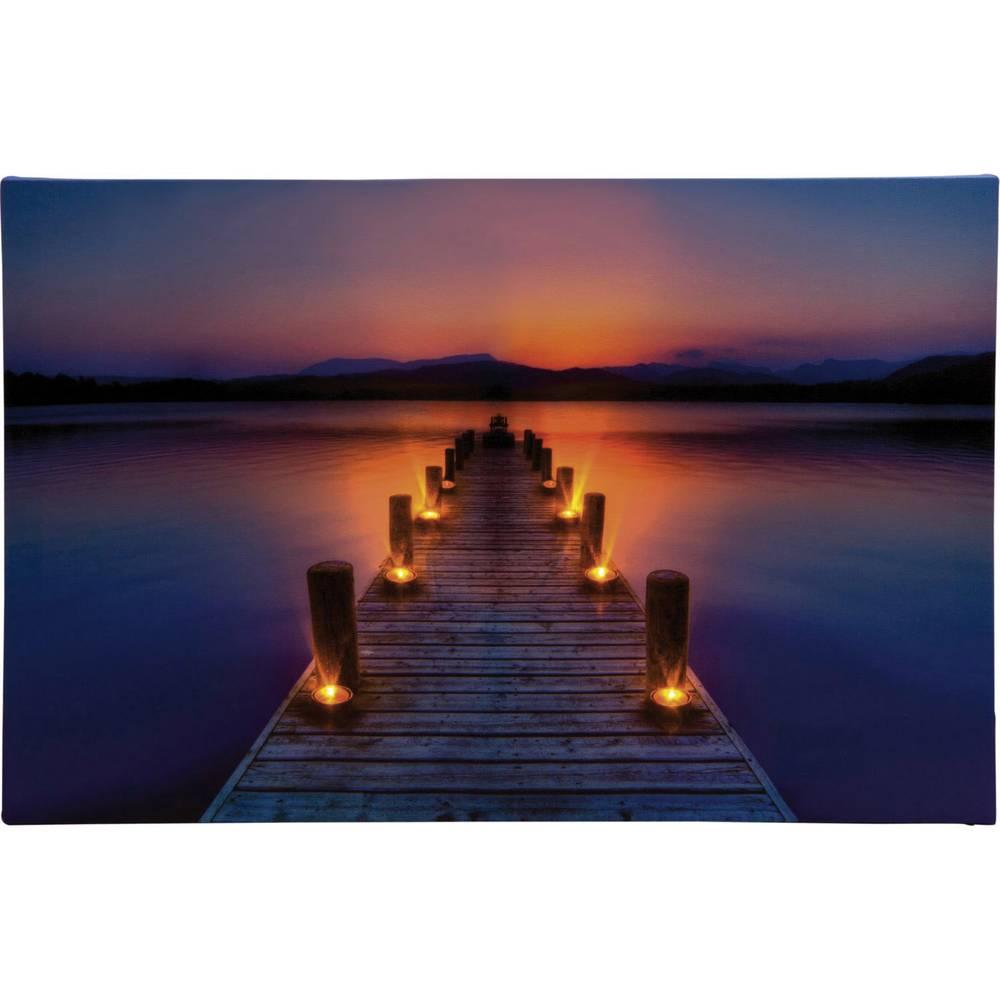 Okrasna LED-slika ''Pomol v jutranji zarji'', Heitronic, večbarvna, 34046