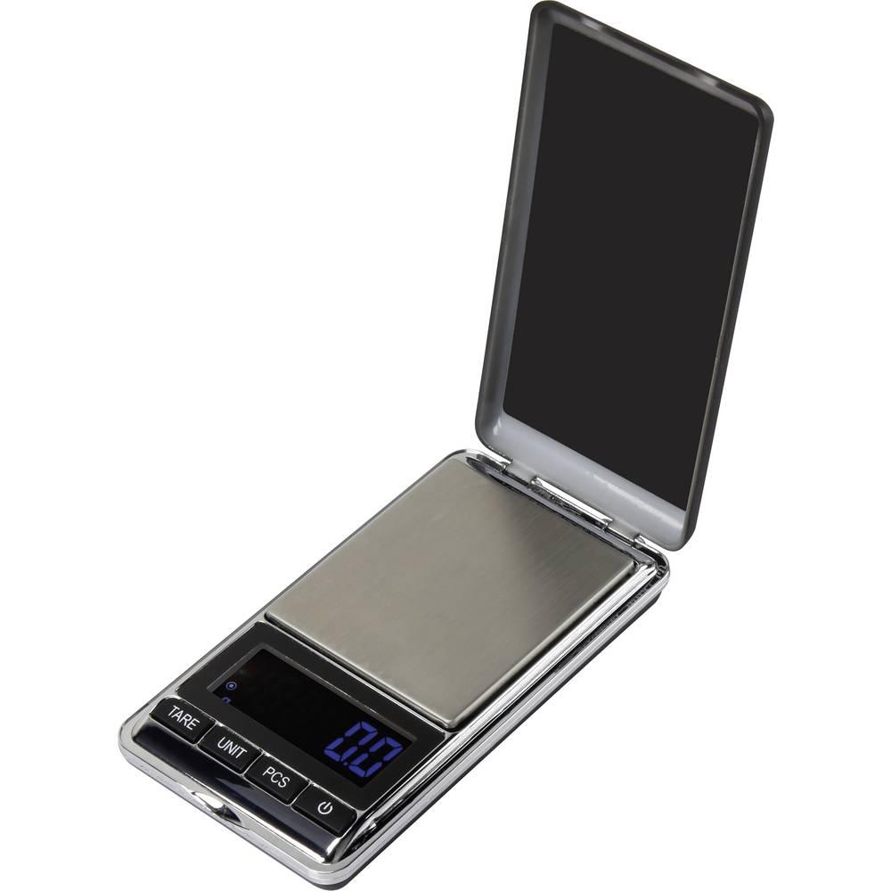 Džepna vaga SJS-60007 Basetech raspon vaganja (maks.) 500 g, očitavanje po 0.1 g na baterije, srebrna