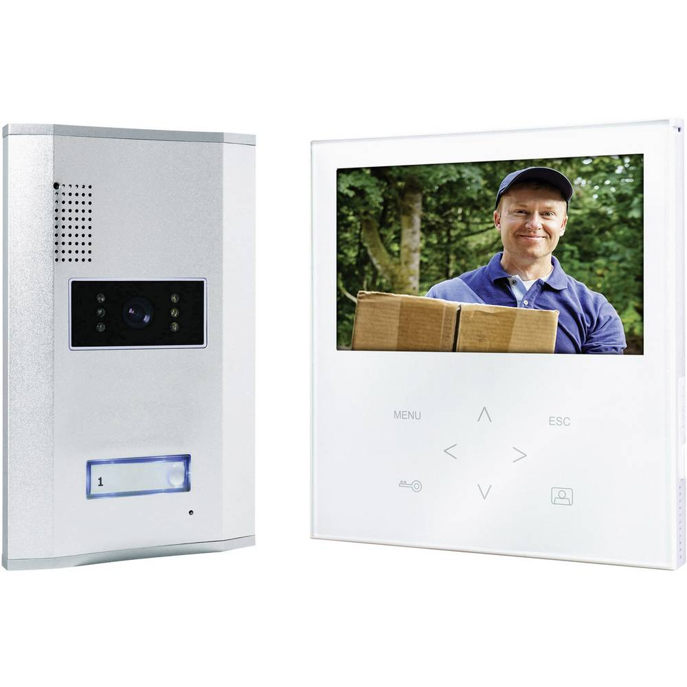 Video portafon s kablom, komplet Smartwares VD71W SW 1 obiteljska kuća, aluminij, bijeli