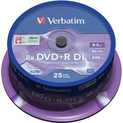 DVD+R DL diskovi Rohling 8.5 GB Verbatim 43757 25 kom. okrugla kutija srebrna mat površina