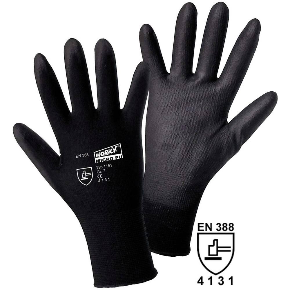 worky 1151 fino pletene rukavice, MICRO black 100% najlon s PU prevlakom, veličina 7