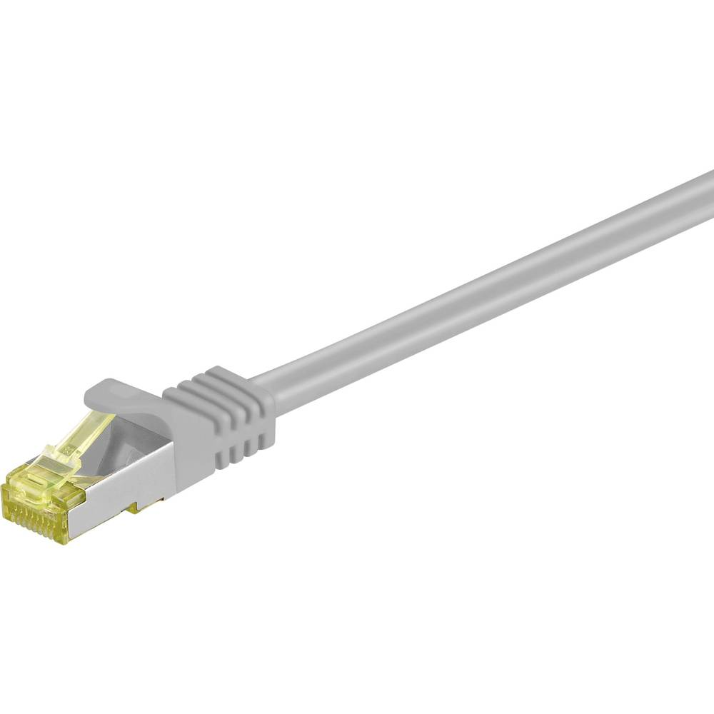 Omrežni priključni kabel Goobay RJ45CAT 7 S/FTP [1x RJ45-vtič - 1x RJ45-vtič] 20 m siv z zapahom, pozlačen S