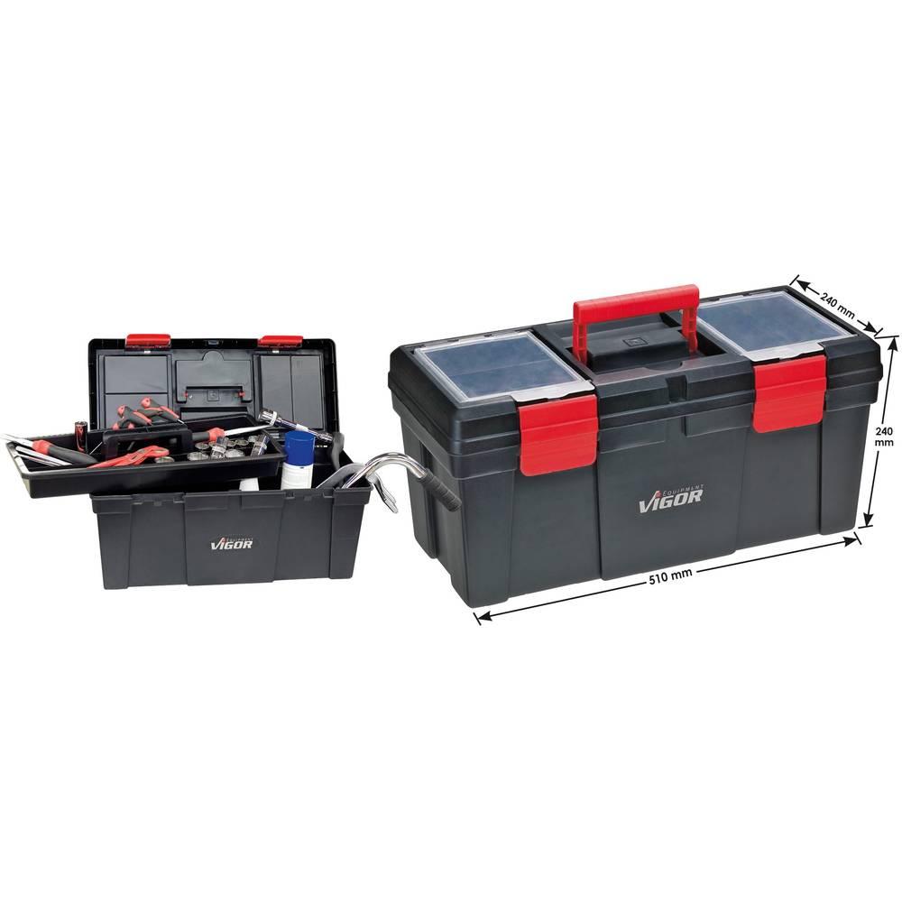 Kovček z orodjem Vigor V1425 iz umetne mase črne barve, rdeče barve