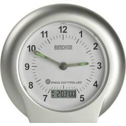 Radijski kontrolirana budilica, boja kućišta: srebrna, boja brojčanika: bijela (Š x V x D) 125 x 120 x 58 mm Eurochron