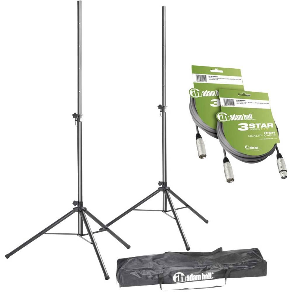 Komplet kablov in stojal za zvočnike, vsebina: 2 stojali za zvočnike s torbo in 2 kabla XLR