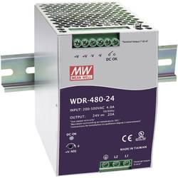 Napajalnik za namestitev na vodila (DIN letev) Mean Well WDR-480-24 24 V/DC 20 A 480 W 1 x