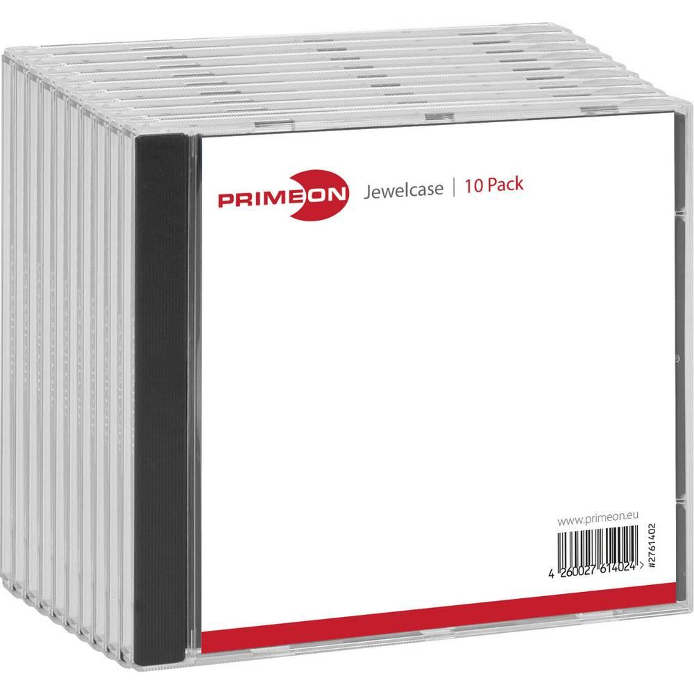 Primeon CD ovitek 1 CD/DVD/Blu-Ray Plastika Črna, Transparentna 10 KOS 2761402
