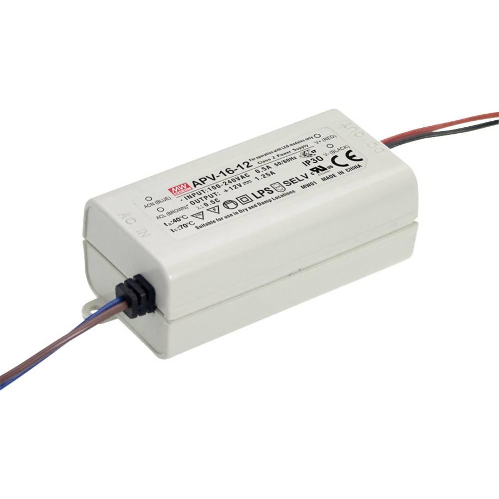 LED transformator, konstantna napetost Mean Well APV-16-15 15 W (maks.) 0 - 1 A 15 V/DC zaščita pred preobremenitvijo, brez zate